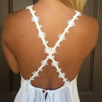 Rose Embroidered Strap Cross Back Top - WHITE