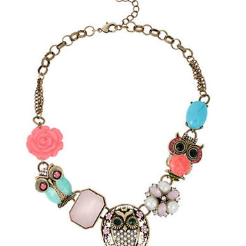 Betsey Johnson Owl Frontal Necklace