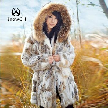 Free Shipping Genuine Rabbit Fur Coat with hood raccoon fur rabbit fur jacket Women Winter Rabbit Fur Waistcoat plus size F803