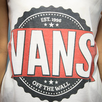 Vans Off The Wall Pop Punk Rock Shirt Tank Top Tanktop Tshirt T Shirt Women Size M,L,XL