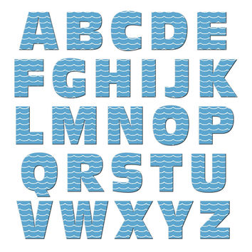 Alphabet Letters Uppercase Waves - Ocean Sea Nautical MAG-NEATO'S TM Refrigerator Magnet Set