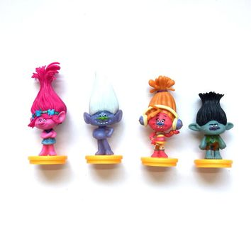 4Pcs Set Movie Trolls 7cm Height Action Figures Toys Cake Topper Kids Birthday Gift Kids Adults Finished Goods Toys