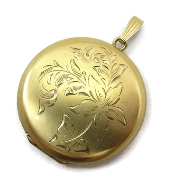 Vintage Gold Round Locket - Etched Floral, 12k Gold Fill