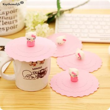 Keythemelife 1Pc Cartoon Anti-dust Silicone Glass Cup Cover Coffee Mug Silicone Lovely Hello Kitty Cover Mug Suction Seal Lid 2C