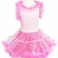 Wavy Ruffle Skirt with Sequin Trim and Satin Bow