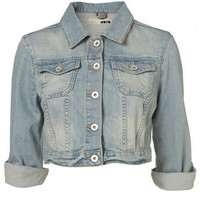 Bleached Denim 3/4 Sleeve Crop Jacket - Denim Jackets - Jackets   - Apparel - Topshop USA