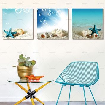 Wall Art  Picture Canvas Painting Starfish shell Wall picture sea Canvas Prints beautiful art wall Pictures home decoration