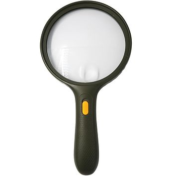 Evelots Handheld Magnifier-Glass-Non Slip-Jumbo Size-3 LED Light-2X Lens-5X Zoom