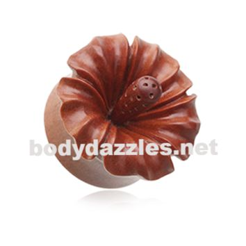 Hibiscus Flower Natural Sawo Wood Ear Gauge Plug Body Jewelry