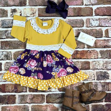 RTS Mustard and Purple Floral Dress D99