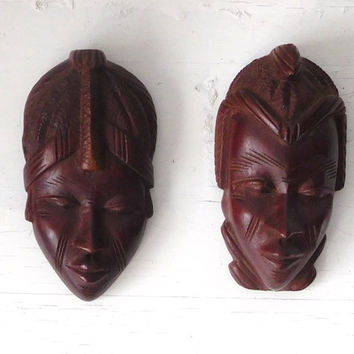 Hand Carved Mask Wood Wall Art African Boy Girl Tribal Decor Wood Face Mask Vintage