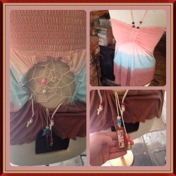 Tie dye halter dreamcatcher shirt