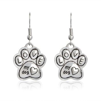 Love My Dog Drop Earrings Silver Heart Paw Dangle Earrings Women Girl Pet Dog Lover Friend Charm Vintage Animal Ear Jewelry