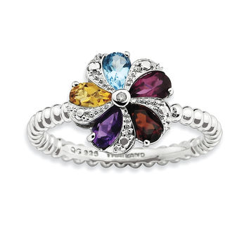 Sterling Silver Stackable Expressions Gemstone & Diamond Ring