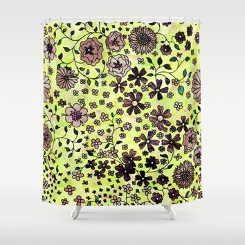Brown Small Flowers Shower Curtain by Aloke Design