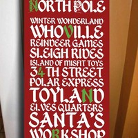 Holiday Decor Christmas Art Stops Workshop Bus Roll Transit Tram 10x20 inch canvas ready to hang
