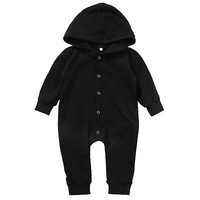 Spring Autumn Cotton Newborn Baby Boy Kids Pure black Long Sleeve Romper Jumpsuit Hooded Clothes Outfits
