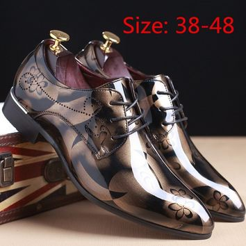 Fashion Men Shoes Leather Shoes Men's Flats Shoes Low Men Oxford Shoes Szie 38-48
