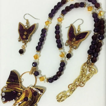 Butterfly Fantasy in Purple and Gold
