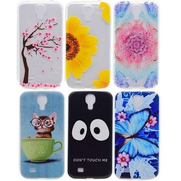 For Samsung Galaxy S4 S 4 i9500 Silicon Cover TPU Cases Cell Phone Accessories Etui Coque Lovely Cat Music Tower Don't Touch Me