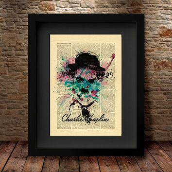 Charlie Chaplin print, Charlie Chaplin portrait drawing, black ink drawing art, Giclee Fine Art Poster Print, Dictionary Style Print   -37