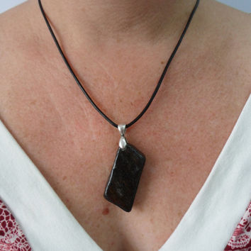 Black Gold Parallelogram Stone Necklace, Obsidian, Beach Stone Jewelry
