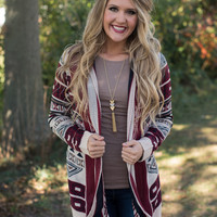 Arizona Nights Cardigan - Burgundy