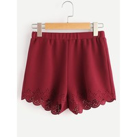 Elastic Waist Textured Laser Cut Scallop Shorts Burgundy
