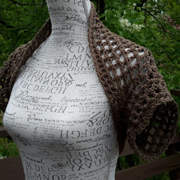 Crochet Brown Shrug. Bolero. Made by Bead Gs on ETSY. Size Medium. Summer top. Tank top Cover.