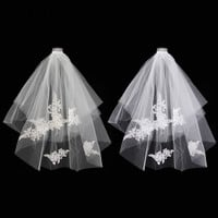 Kiwarm Beautiful 2 Layer White/Ivory Elbow Lace Edge Wedding Bridal Veil With Comb For Home Wedding Party Cloth Accessories