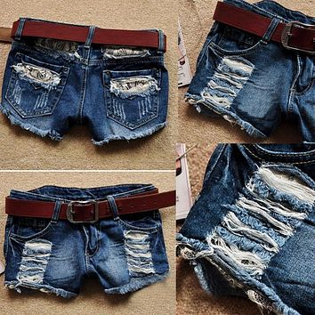 Retro Low Waist Tassel Hole Lace Jeans Denim Shorts
