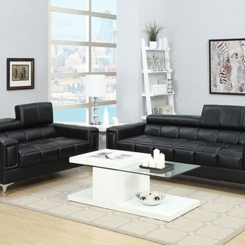 Bonded Leather 2 Piece Sofa Set With Foldable Headrests In Black By Poundex