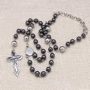 popular hematite semi-pricious stainless steel cross beads long rosary necklaces high quality fashion men jewelry free shipping