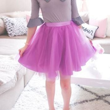 Purple Grenadine Draped High Waisted Fluffy Puffy Tulle Tutu Cute Homecoming Party Skirt