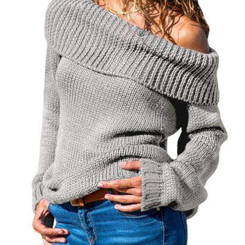 Gray Turn-down Collar Show Shoulder Ribbed Sweater