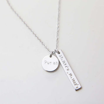 Personalized Coordinate Bar Necklace with Name Disc / Coordinate and Name Bar Plate with Initial Disc  / Long Necklace Matinee / Gift