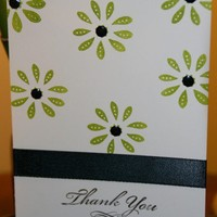Handmade Black and Green Thank You Card | foreversmemories - Cards on ArtFire