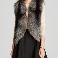 Maximilian Feathered Fox Fur Vest with Suede Inserts | Bloomingdales's