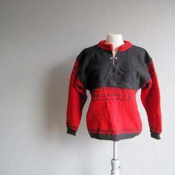 Sweater Scandinavian handmade vintage unisex black red pullover Norwegian Folk Art