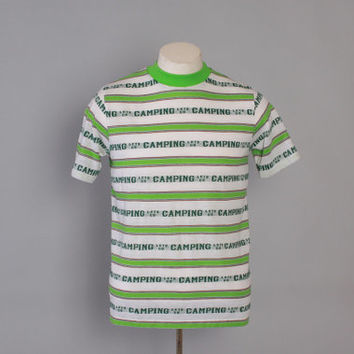Vintage 60s CAMPING T-SHIRT  / 1960s Men's Novelty Let's Go Camping Striped Tee Shirt M