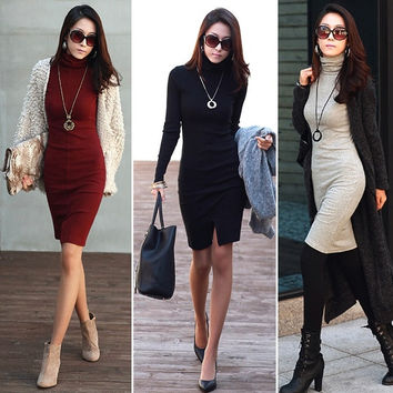 Trendy Women Slim Office Turtleneck Long Sleeves Knit Sweater Dress = 1958034628