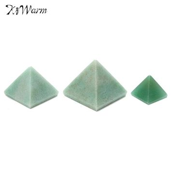 KiWarm 1PC Pyramid Natural Green Crystal Stone Gemstone Healing Orgone Feng Shui Charging for Home Decor Crafts 15/25/50mm
