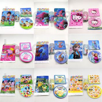 61pc\lot Kids Favors Trolls Cups Birthday Party Hello Kitty Napkins Decoration Baby Shower Plates Pokemon Go Tablecloth Supplies