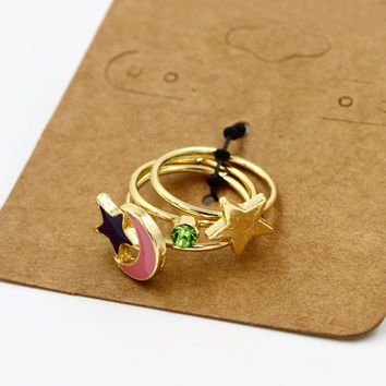 Pink Moon And Star Faux Diamond Finger Ring