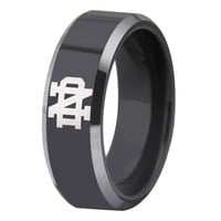 University of Notre Dame Fighting Irish | ND | Tungsten Ring Band | Black and Silver | 8MM