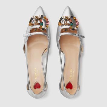 shosouvenir  GUCCI  Crystal double G metal leather high heels