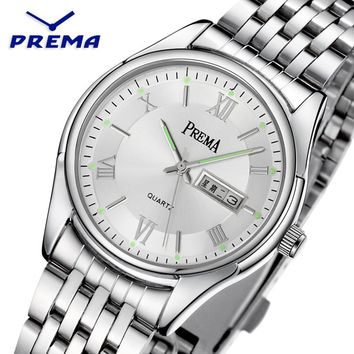 PREMA Couple Watch Stainless Steel Wristwatches Fashion Mens Watches Top Brand Luxury Waterproof Calendar Display Heren Horloge