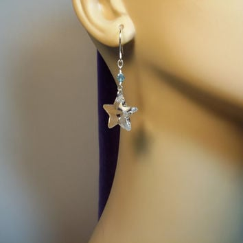 Swarovski Clear Star Drop Crystal Earrings, Mothers Day Gift, ONLY ONE, Bridesmaid Mom Sister Girlfriend Jewelry, Simple, Pretty