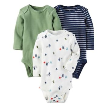 Baby Boy Carter's 3-pk. Long Sleeve Monster, Striped & Solid Bodysuits | null