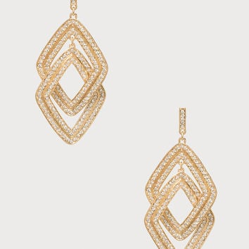 bebe Womens Interlocked Earrings Crystal In Gold